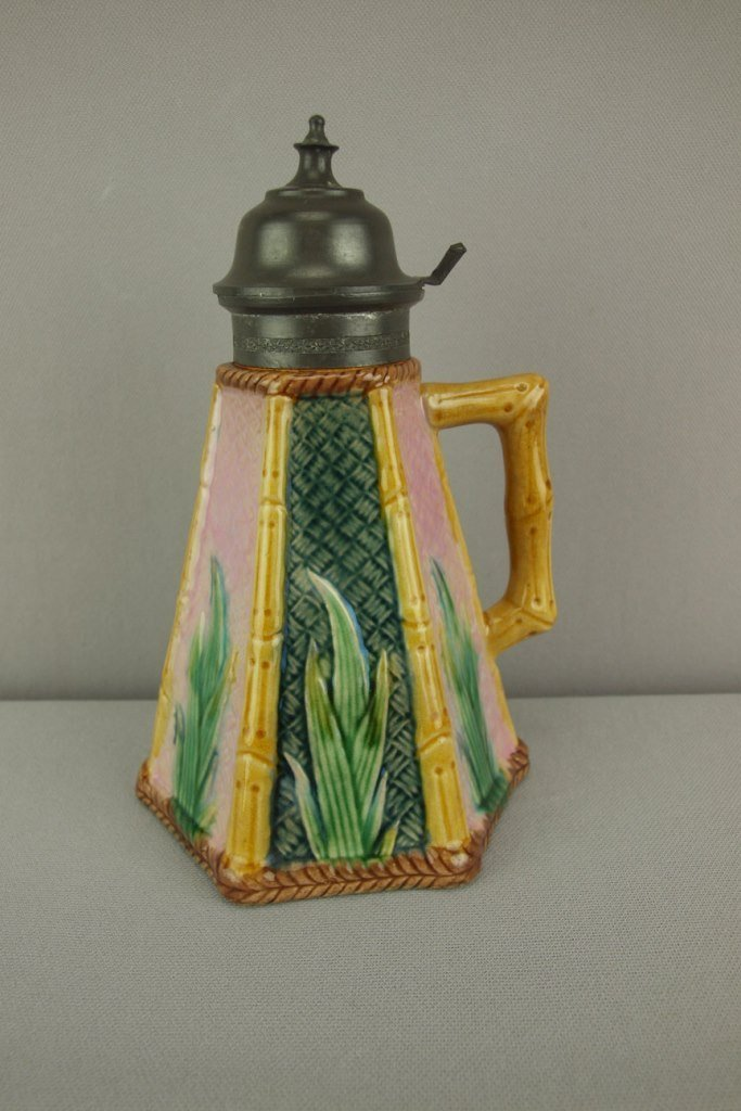"""ETRUSCAN majolica bamboo syrup pitcher, 8"""""""