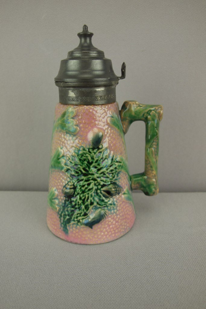 ETRUSCAN majolica coral syrup pitcher with pewter lid,