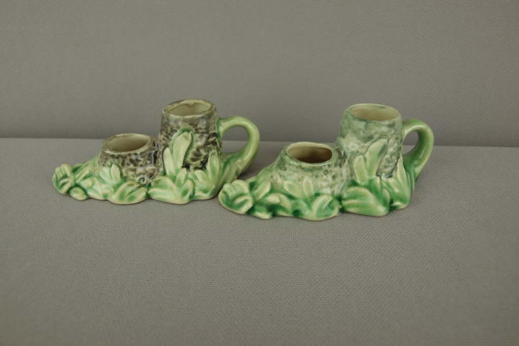 Majolica pair of miniature chamber candle holders,