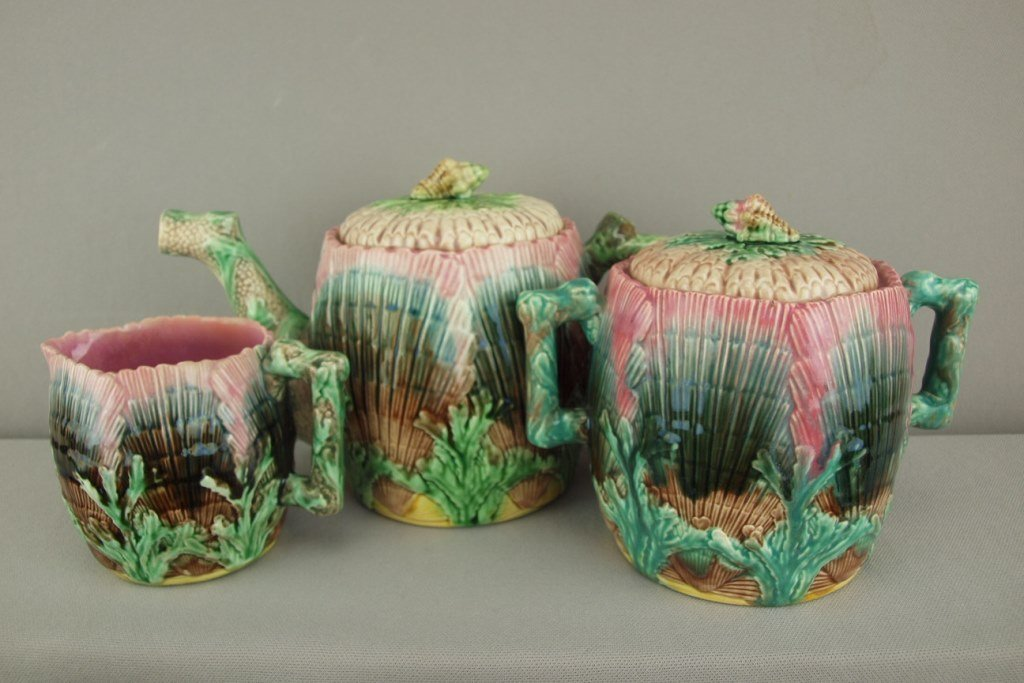 ETRUSCAN shell and seaweed thee piece teaset with large