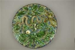 Geoffrey Luff monumental Palissy majolica round plaque