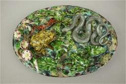 Geoffrey Luff Palissy majolica oval plaque with snake,