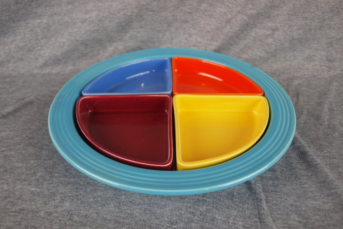 Fiesta Harlequin relish tray, turquoise tray, red,