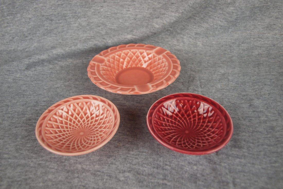 Fiesta Harlequin group - rose basket ashtray, 2 nut
