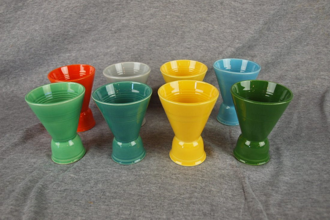 Fiesta Harlequin lot of 8 double egg cups - red, gray,