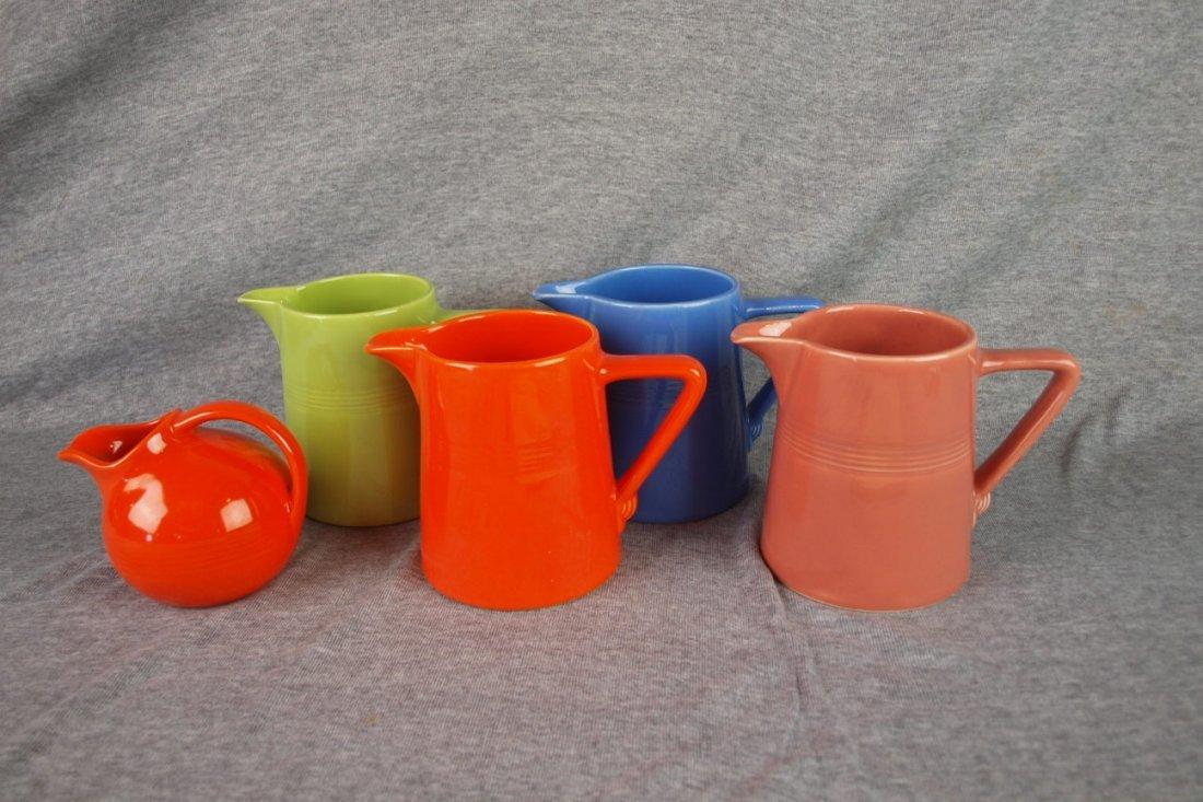 Fiesta Harlequin lot of 5 pitchers - red novelty jug,