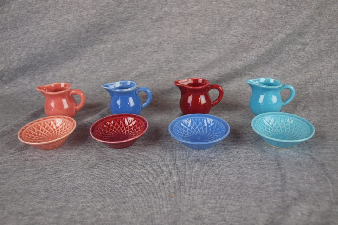 Fiesta Harlequin lot of 4 creamer and nut cup sets -