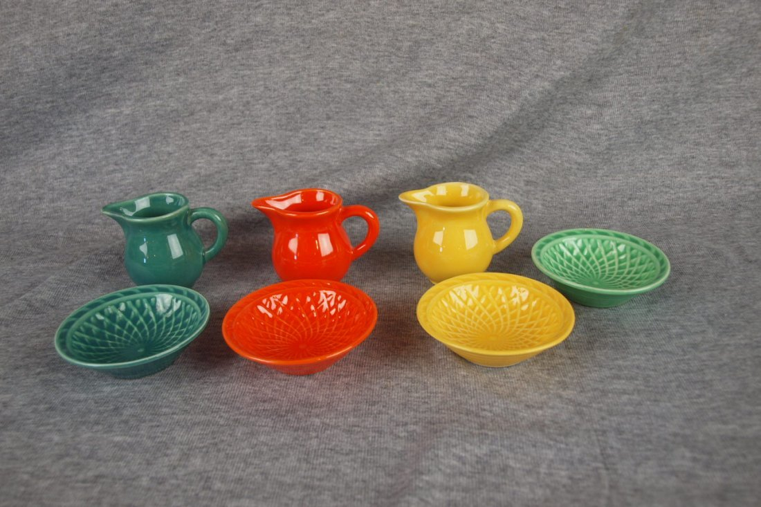 Fiesta Harlequin lot of 3 creamer and nut cup sets -