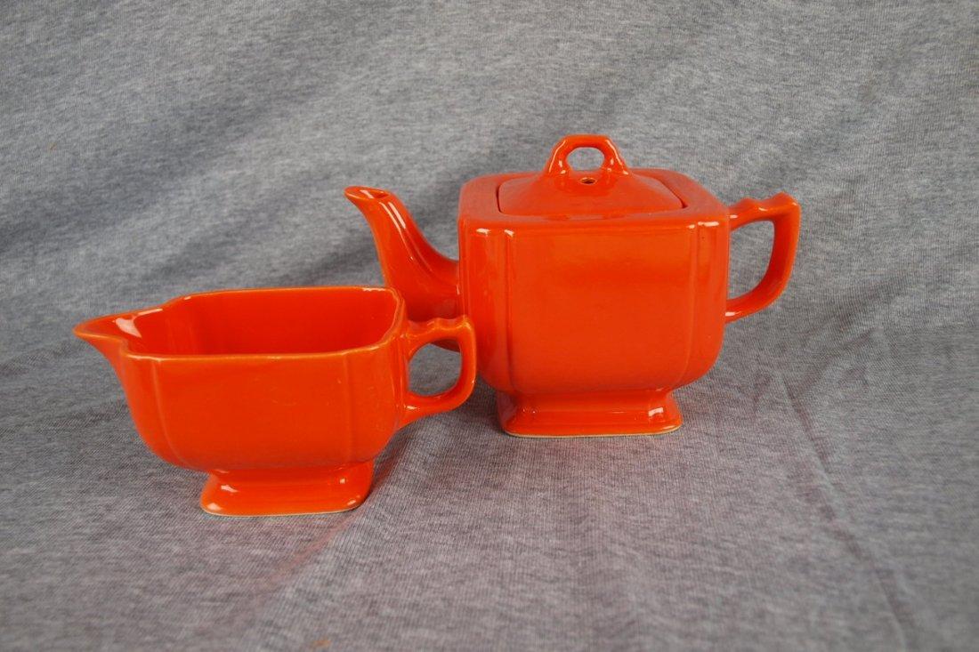 Fiesta Riviera red teapot and creamer