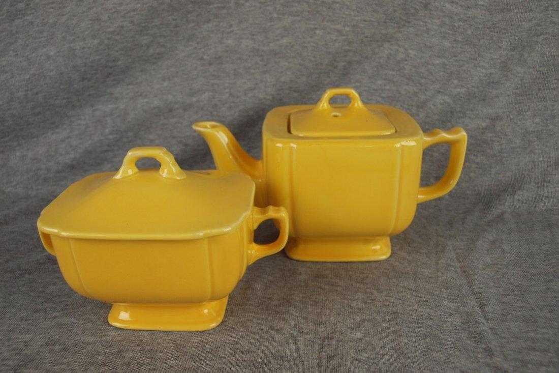 Fiesta Riviera yellow teapot and sugar, minor nick to