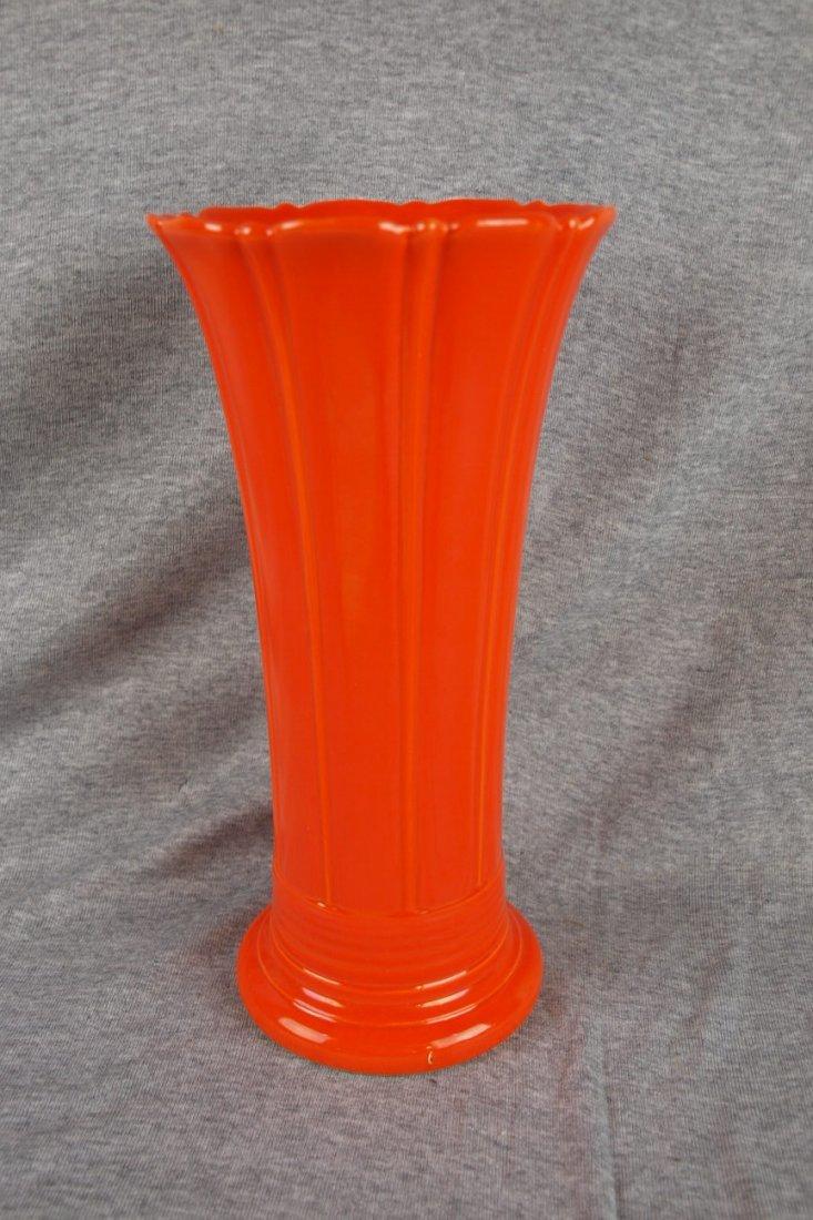 "Fiesta red 12"" flower vase, factory glaze burr to base"