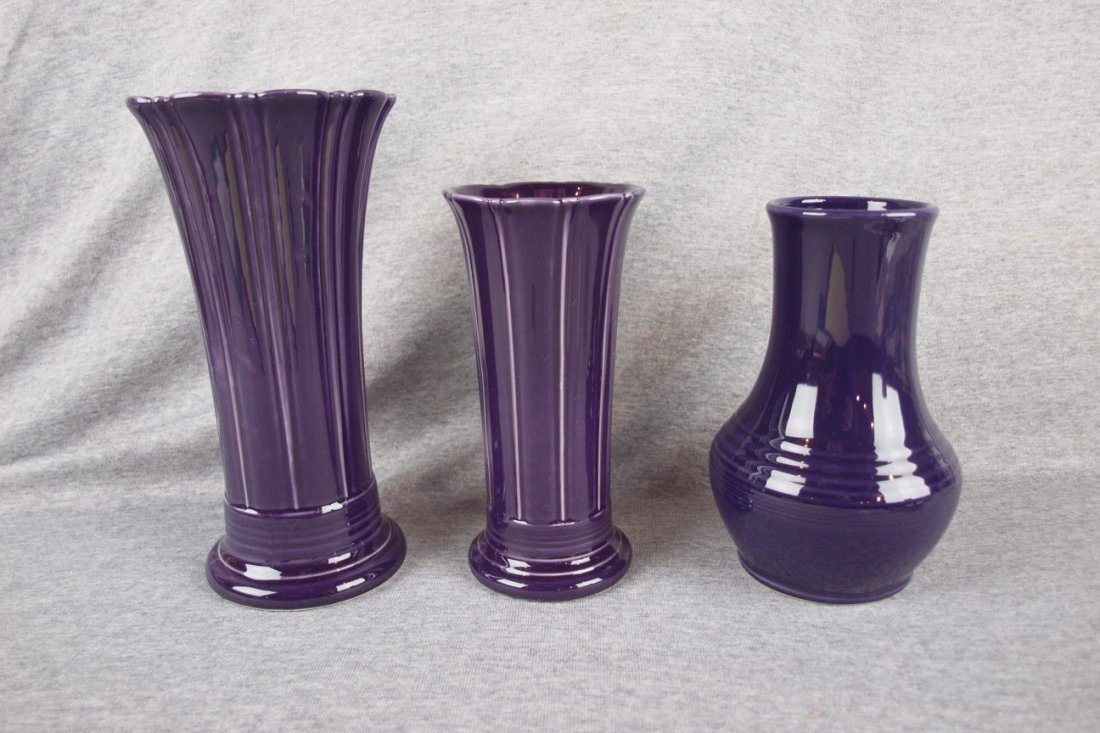 Fiesta Post 86 plum vase group, medium small & Royalty