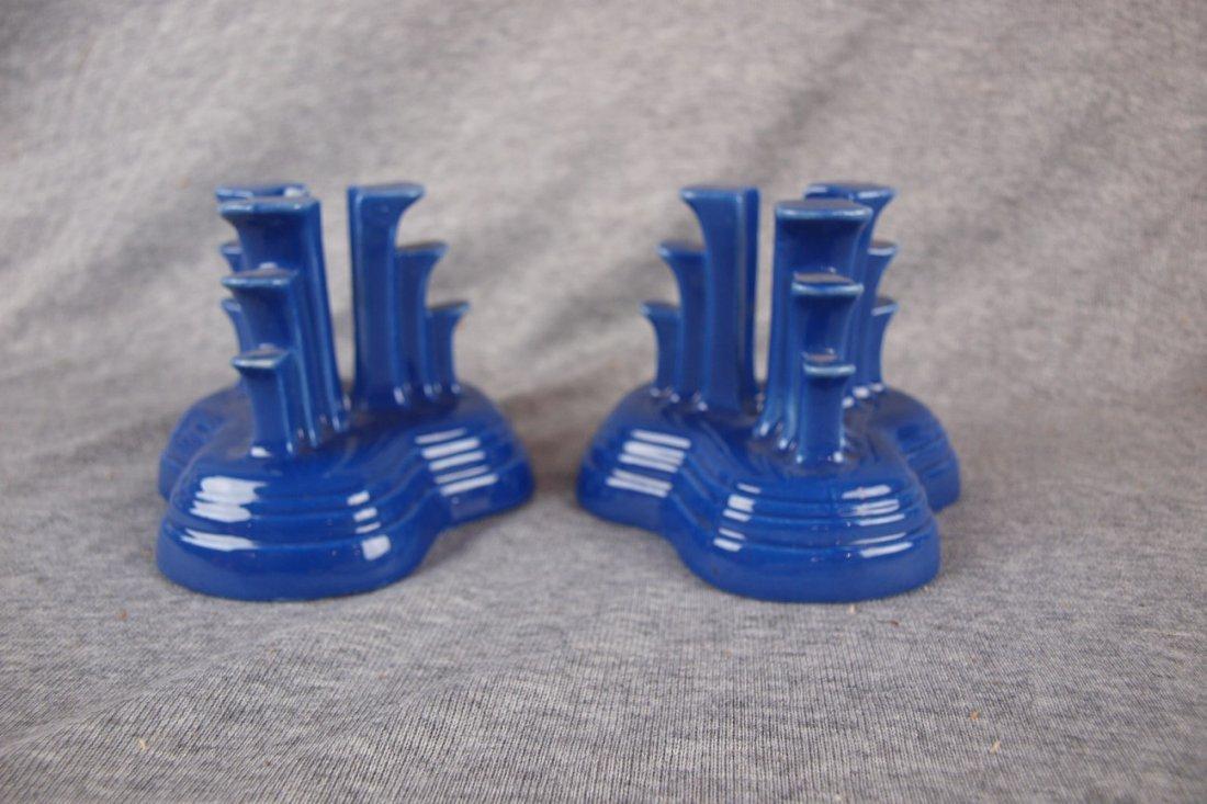 Fiesta pair tripod candle holders, cobalt