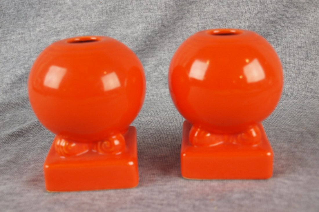 Fiesta pair bulb candle holders, red