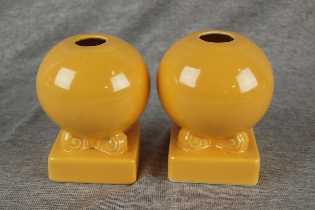 Fiesta pair bulb candle holders, yellow