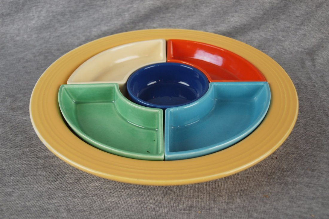 Fiesta relish tray, all 6 colors, yellow tray, cobalt