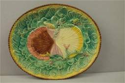 Majolica twin shells on waves platter 13 rim chip