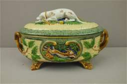 Minton Majolica Gun Dog game tureen with hunting dog