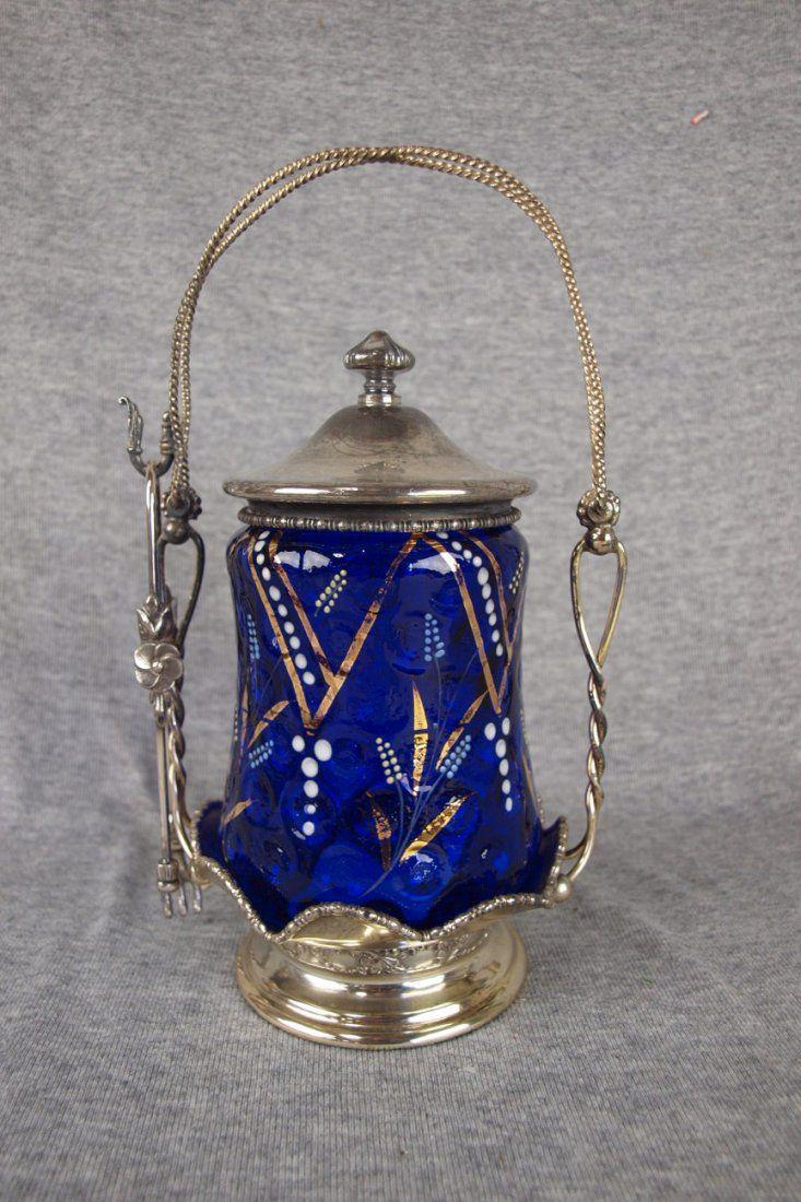 Victorian pickle castor with cobalt blue enameled