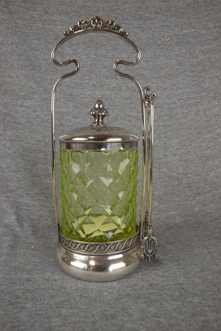 Victorian pickle castor with vaseline honeycomb glass
