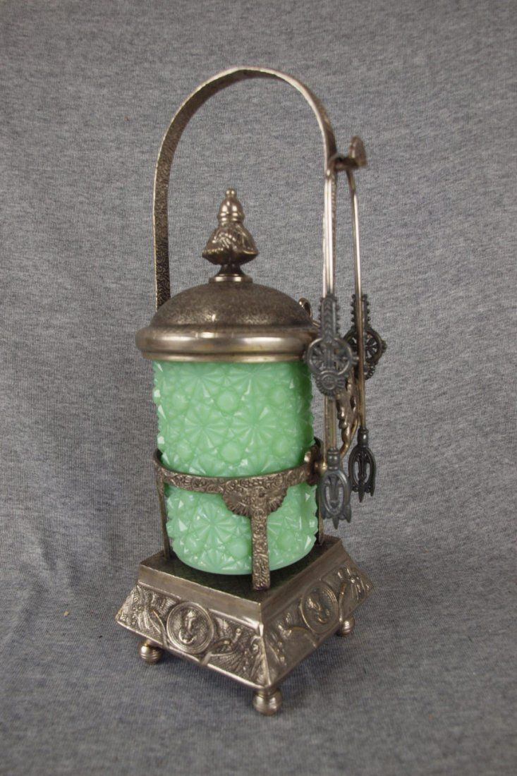 Victorian pickle castor with green opaque daisy &