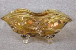 Moser art glass amber bowl with applied lizard and