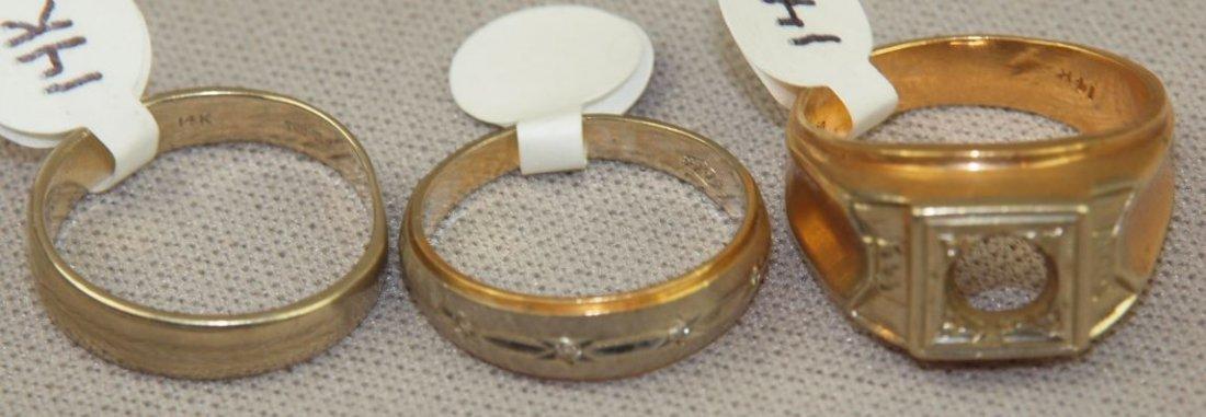 Lot of 3 14kt gold rings, 19.3g