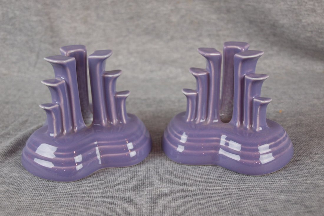 Fiesta post 86 lilac pair of pyramid candle holders