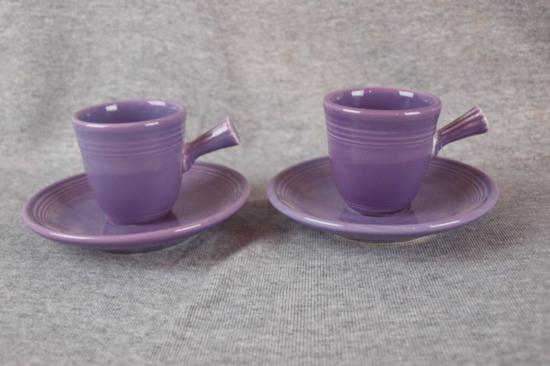 Fiesta post 86 lilac  pair of AD  cups & saucers with