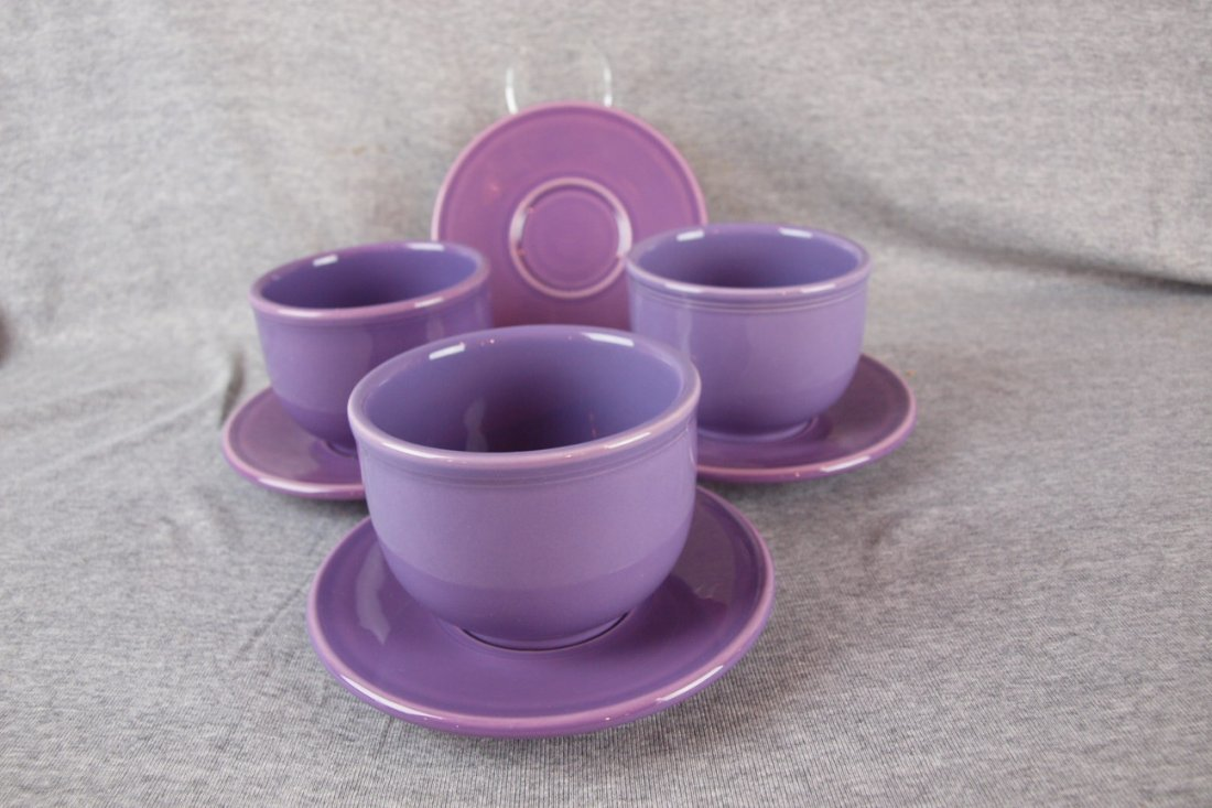 Fiesta post 86 lilac lot of 3 chili bowls & 4 saucers
