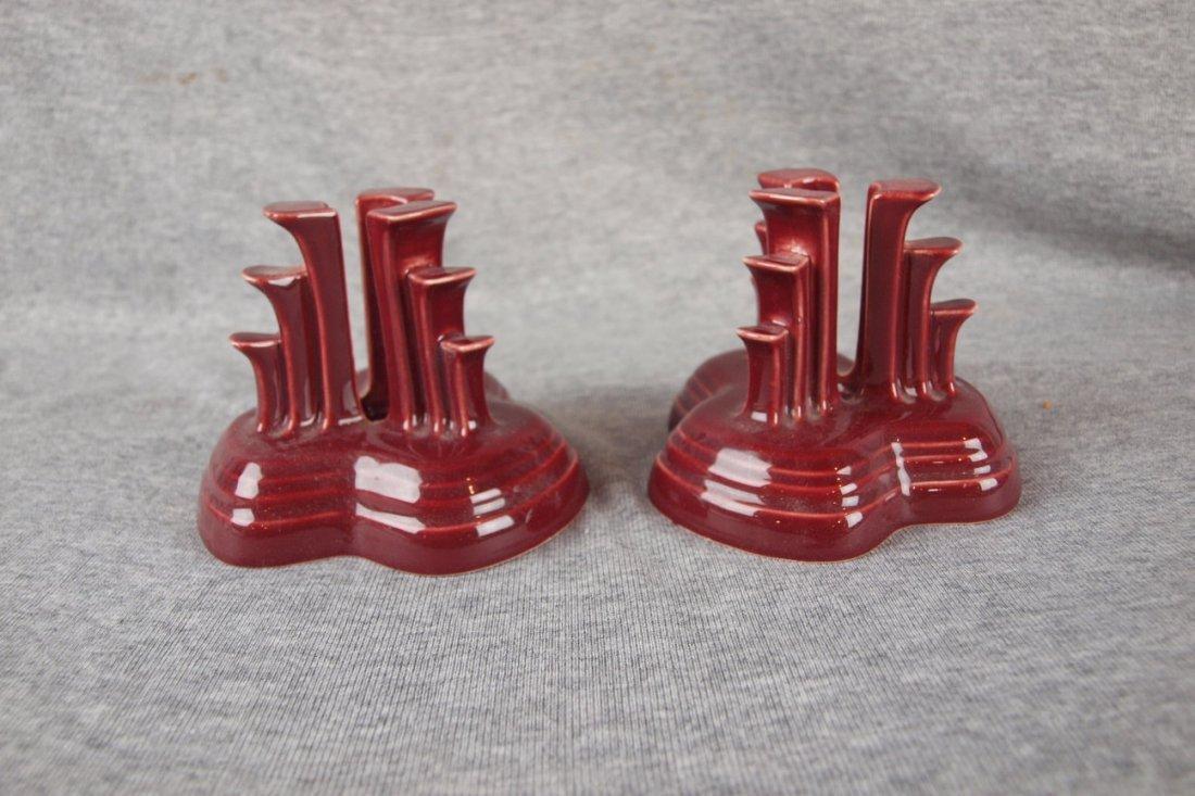 Fiesta post 86 cinnabar pair of pyramid candle holders