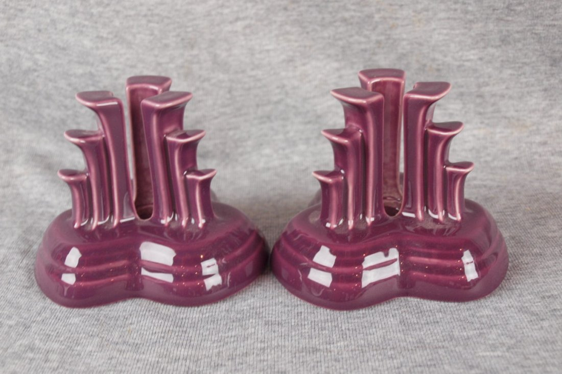 Fiesta post 86 heather pair pyramid candle holders