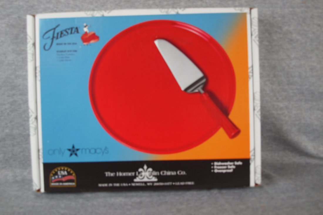 Fiesta post 86 scarlet cake plate & server, NIB