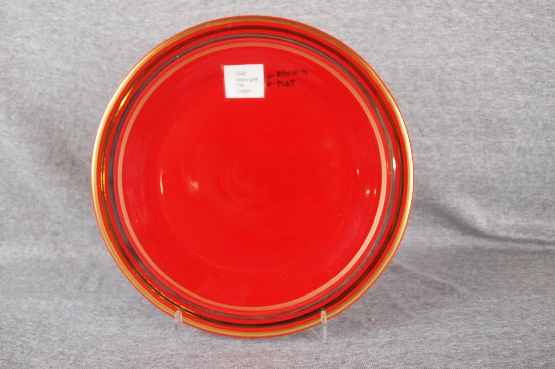 Fiesta post 86 scarlet sample plate with gold, micro