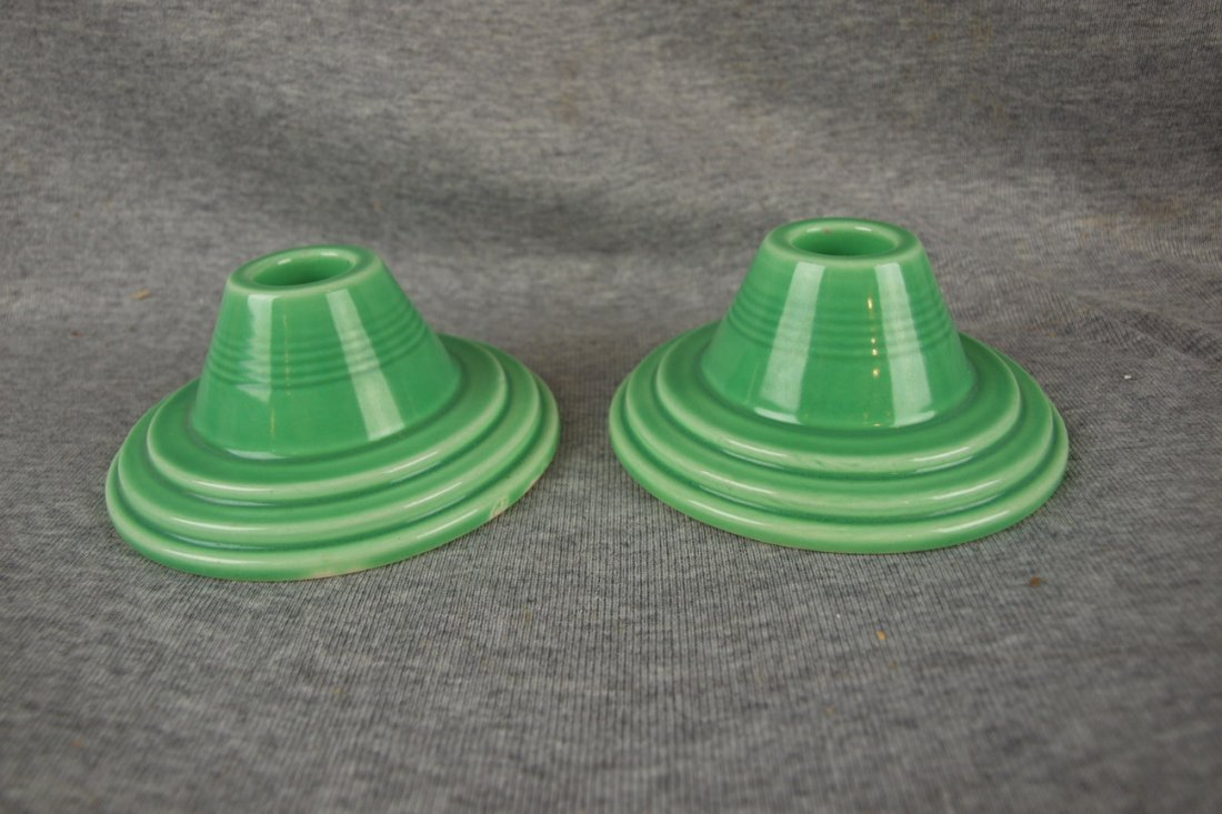 Harlequin pair of green candle holders, only 2 pair