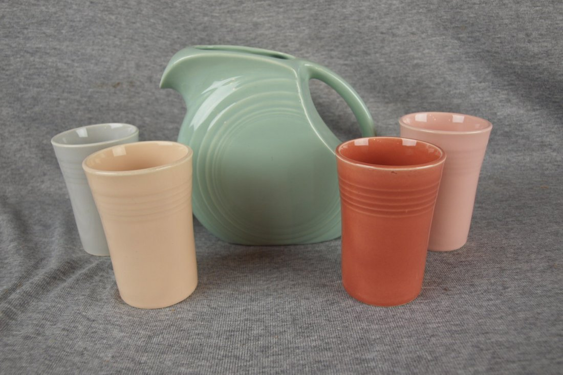 Fiesta Jubilee juice set with celadon juice pitcher