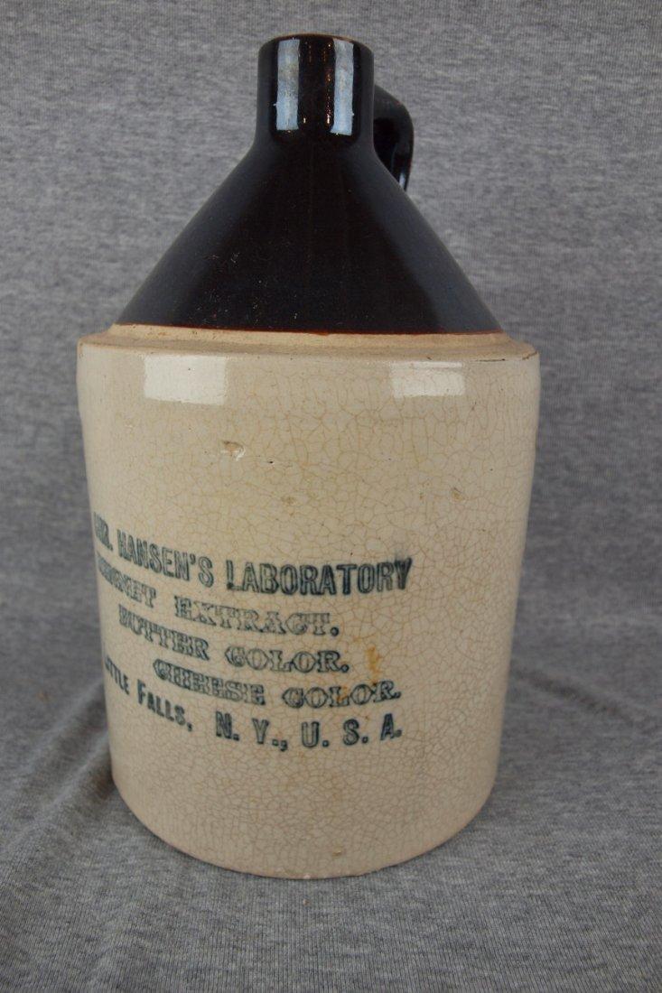 """Brown & white stoneware jug """"Chr. Hansen's Laboratory,"""