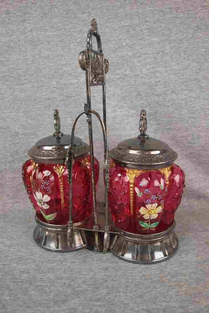 Victorian enameled cranberry glass double pickle castor