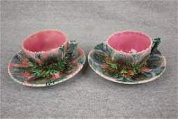 Majolica Etruscan shell & seaweed pair of cups &