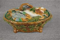 Majolica Minton basket weave game tureen with dead game