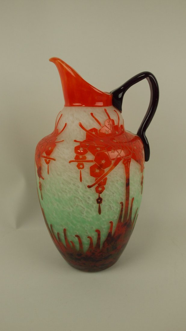 """French Charder LaVerre cameo art glass pitcher 13"""","""