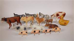 German paper mache and other animals - cows, donkeys,