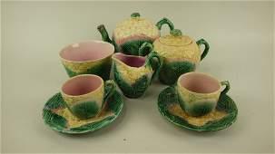 Majolica Etruscan cauliflower tea set with teapot,