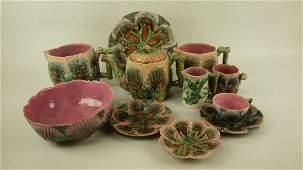 "Majolica Etruscan lot of 10 shell & seaweed pcs: 9 1/4"""