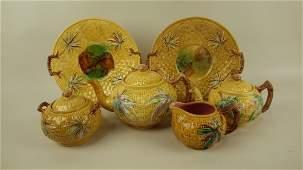 Majolica Banks & Thorley basket and bamboo tea set with