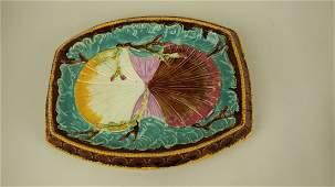 Majolica twin shells on waves platter rim chips  wear
