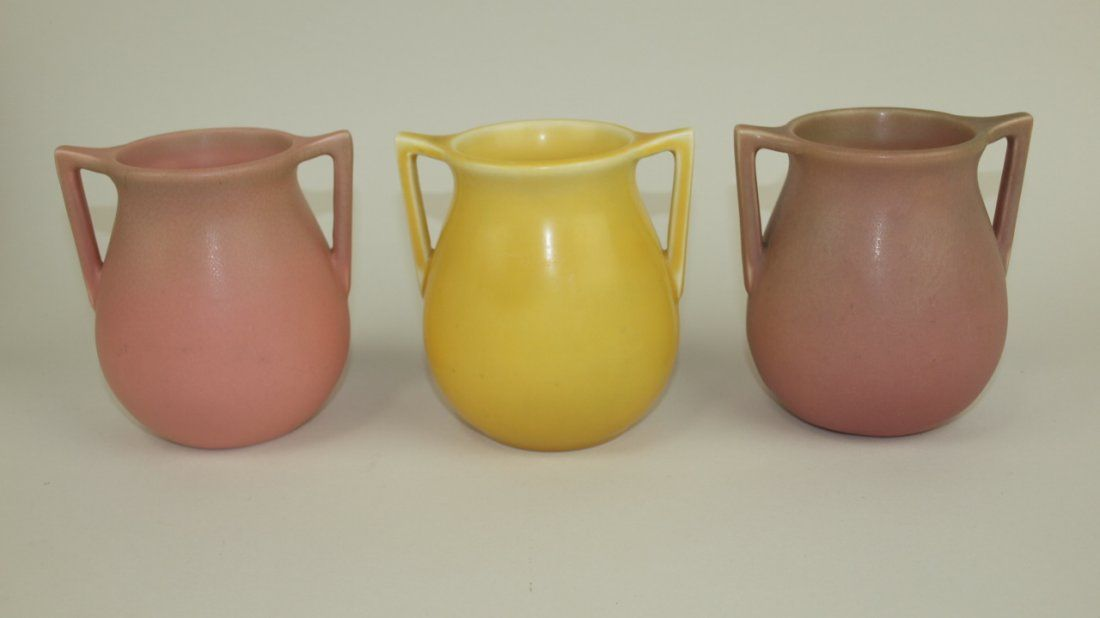 Rookwood set of 3 double handles vases #63, 1926-1930,