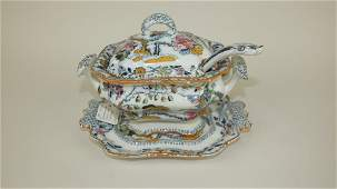 Ashworth's ironstone sauce tureen with ladle and stand,