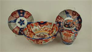 Imari lot of bowl covered jar  2 plates