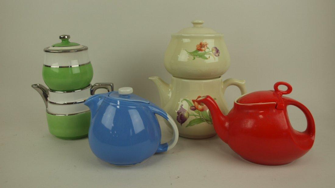 Lot of 2 Dripolator teapots and 2 Hall teapots